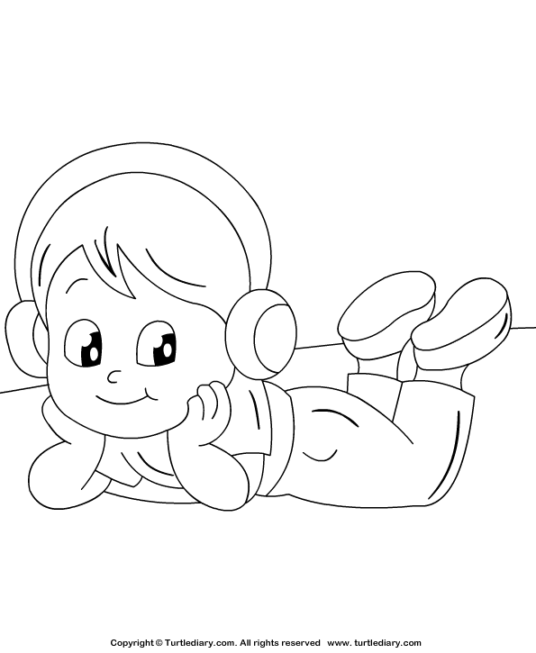 Listening to Music Coloring Page