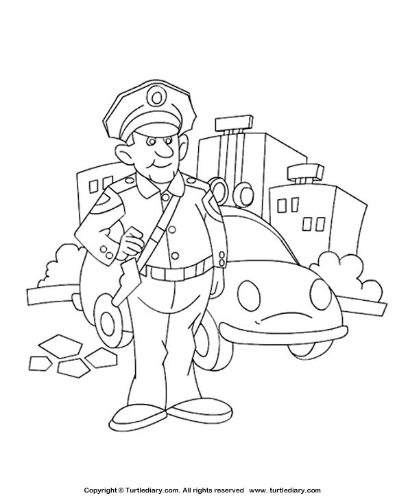 Police Man Coloring Page