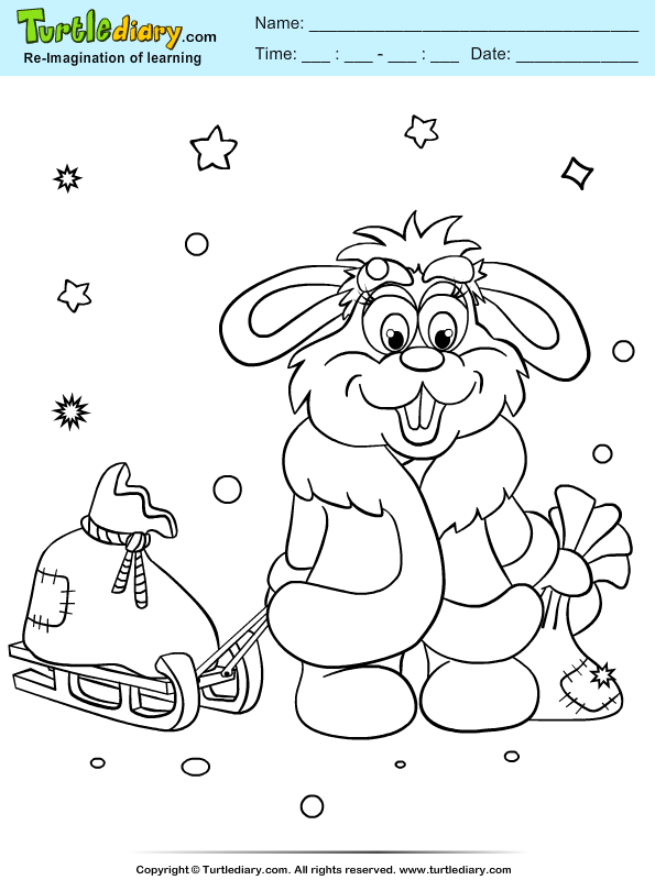 Bunny Sleigh Coloring Page