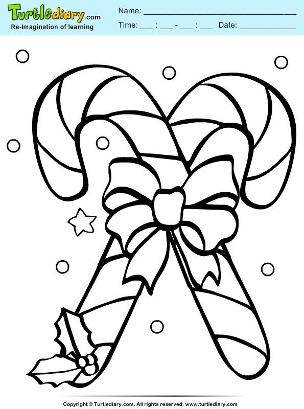 Candy Cane Coloring Sheet | Turtle Diary