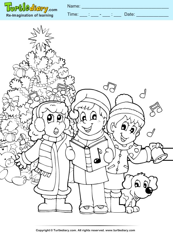 Christmas carol coloring page turtle diary for Christmas carol coloring pages