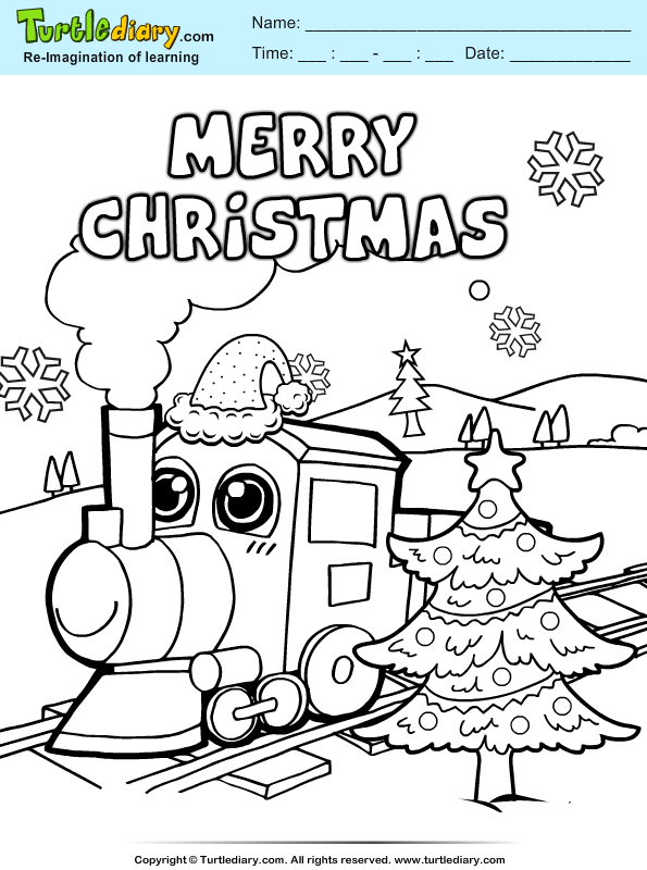 Christmas Train Coloring Sheet | Turtle Diary