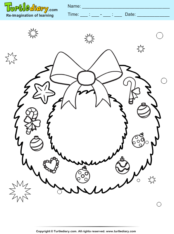 Christmas Wreath Coloring Sheet | Turtle Diary