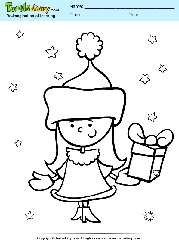Girl with Present Coloring Page