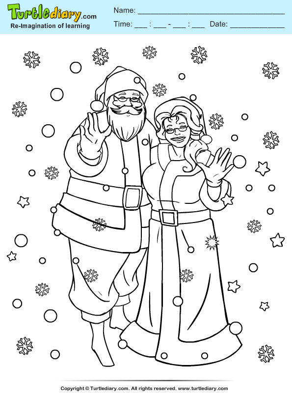 Mr And Mrs Claus Coloring Sheet Turtle Diary