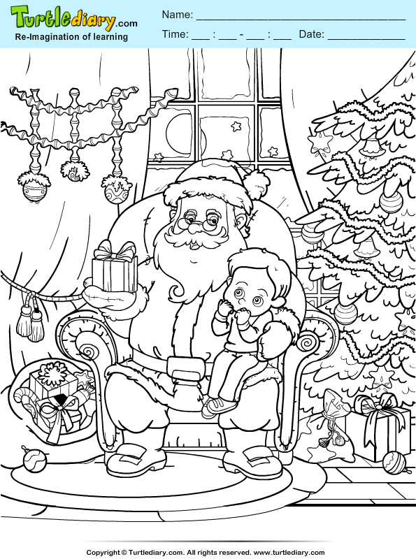 Santa Gifting Child Coloring Page