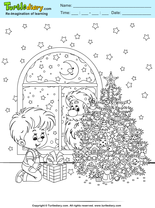 Santa in the Window Coloring Page