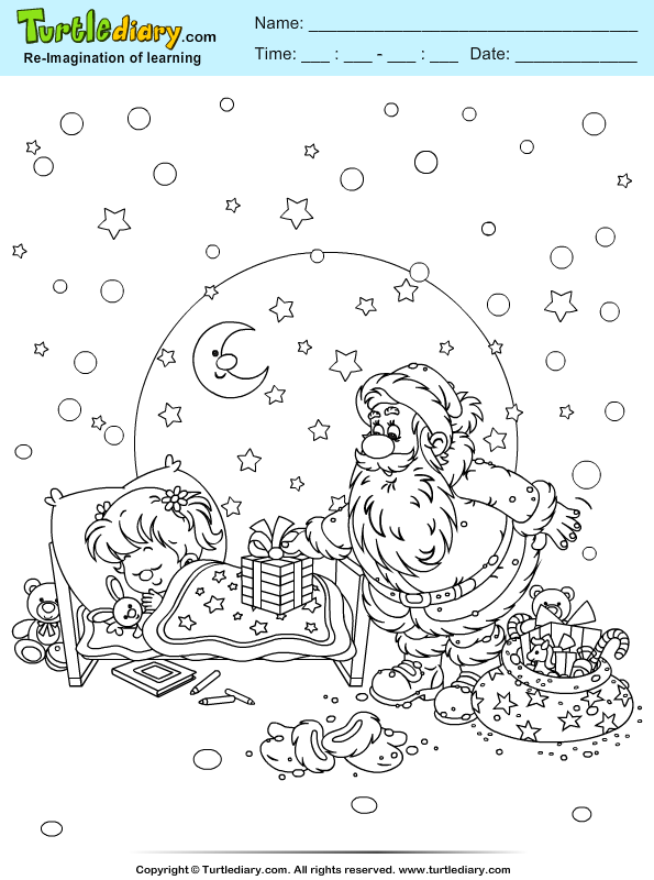 Santa Sleeping Child Coloring Page