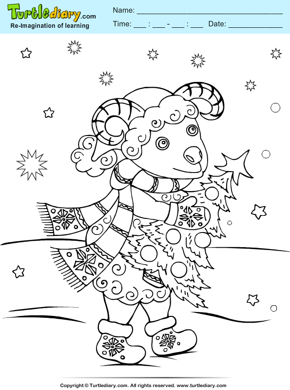 Sheep Christmas Tree Coloring Page