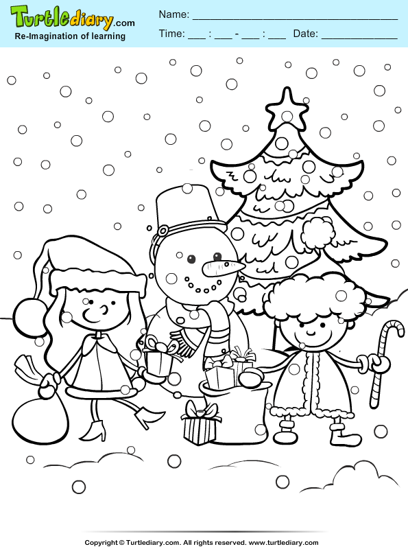 Snowman and Kids Coloring Page