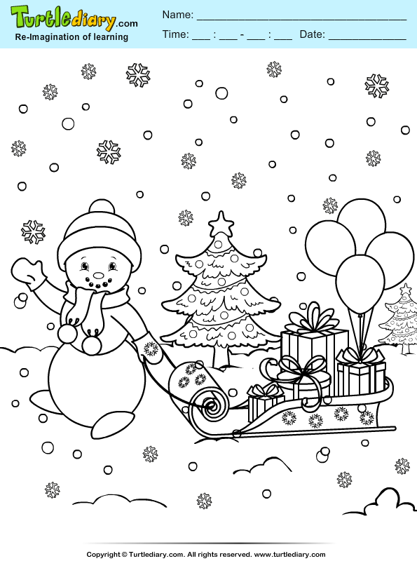 Snowman Sleigh Coloring Page