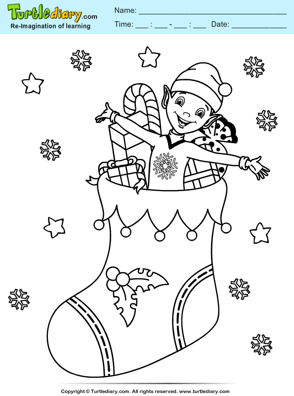 Stocking Elf Coloring Page
