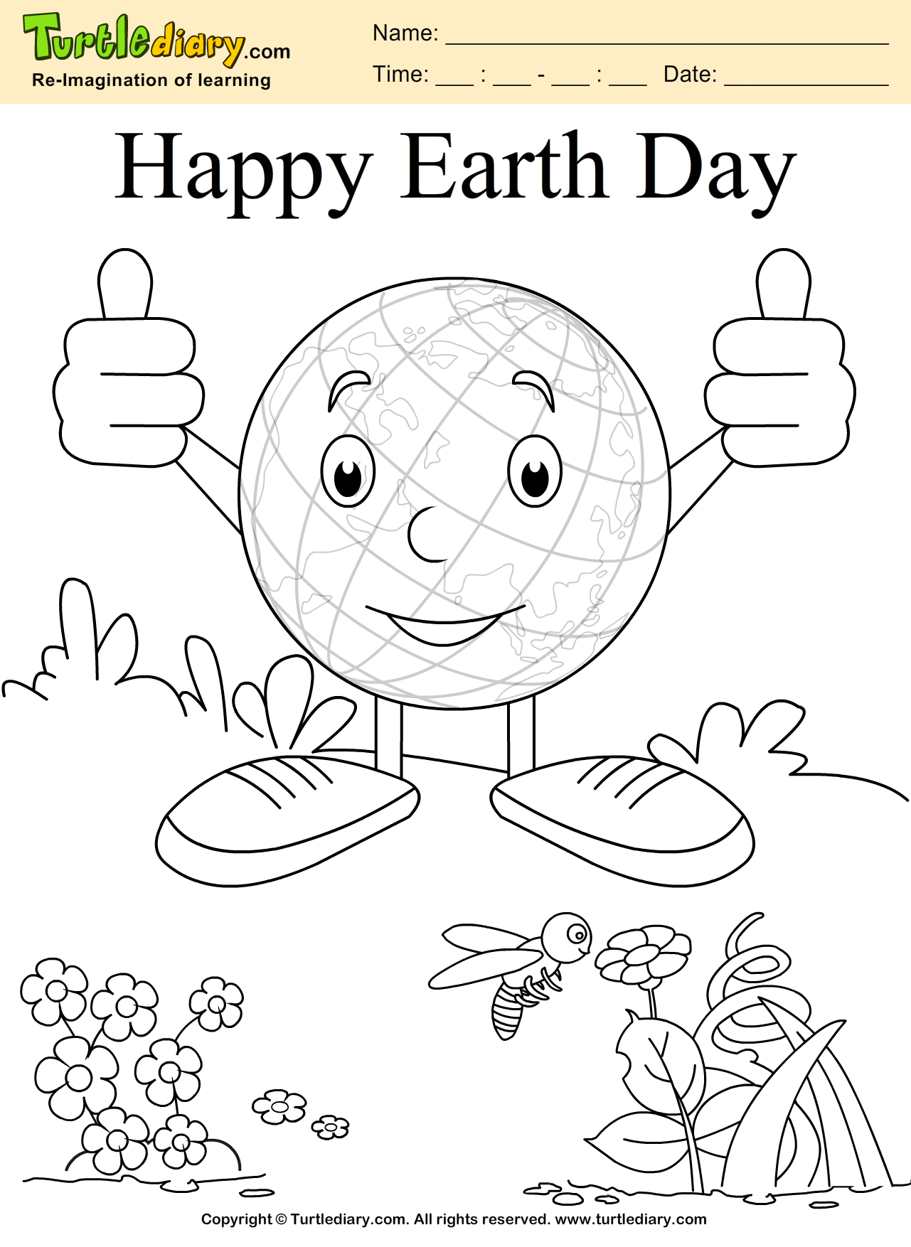 Earth Coloring Sheet | Turtle Diary