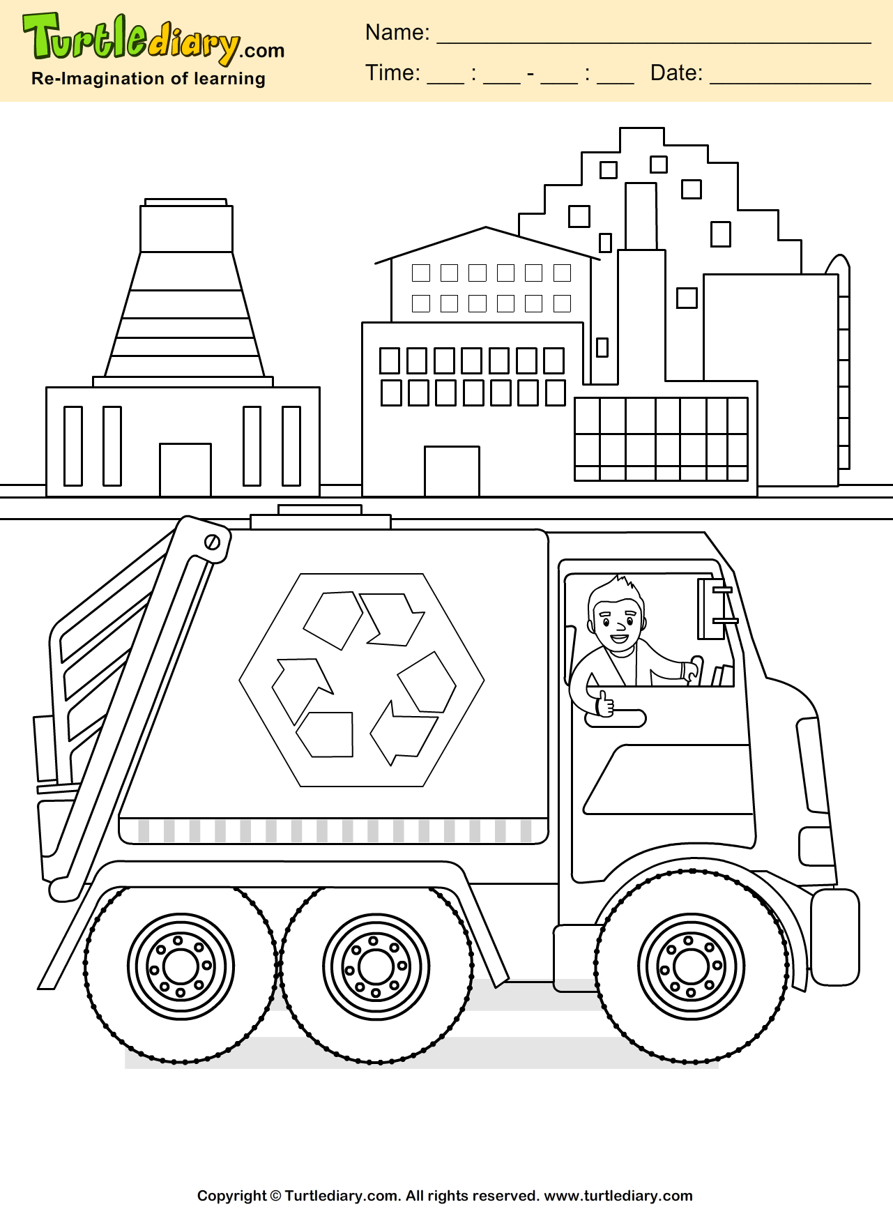 Recycling Coloring Sheet Turtle