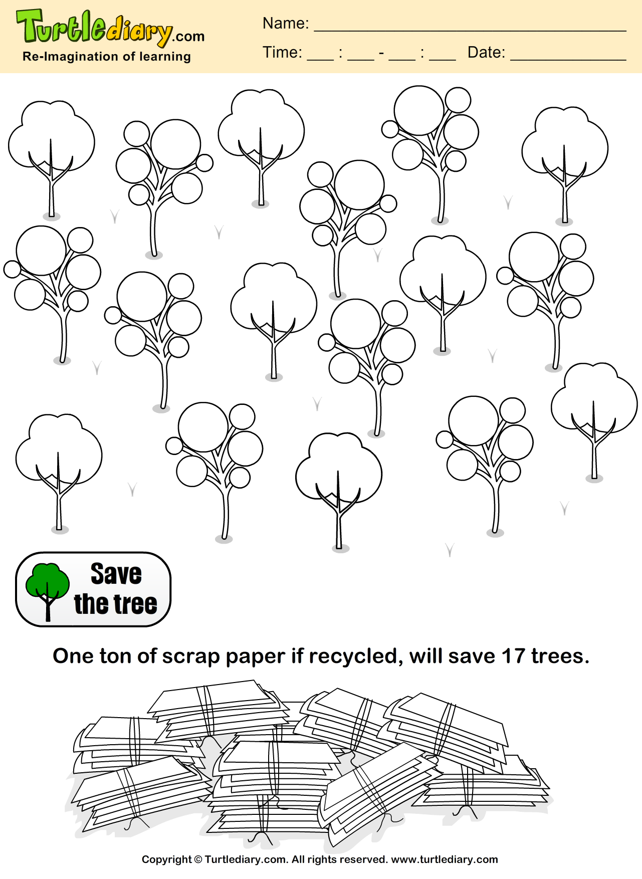 save trees coloring sheet turtle diary