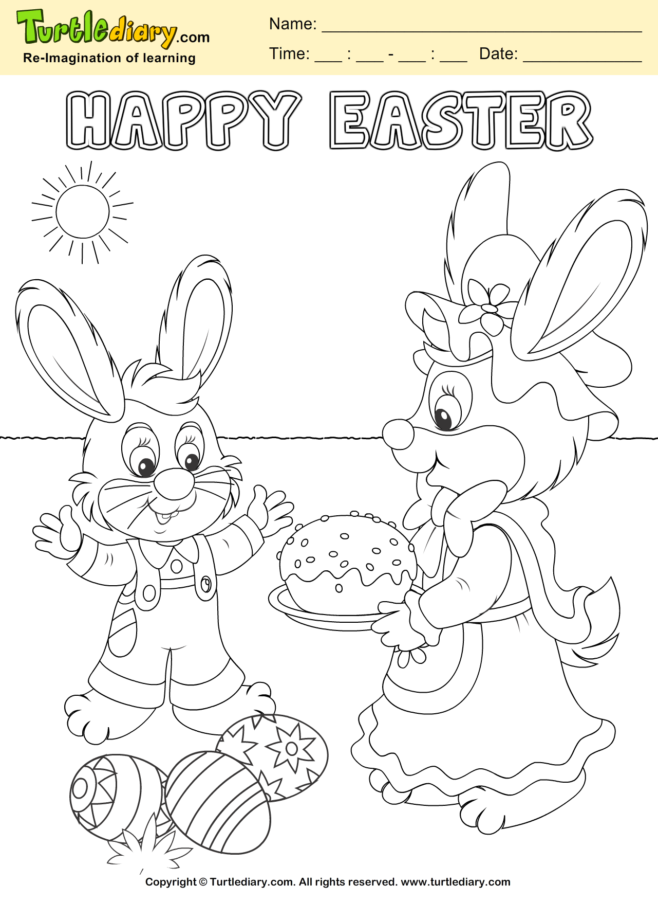 Bunny and Easter Egg Coloring Sheet Turtle Diary