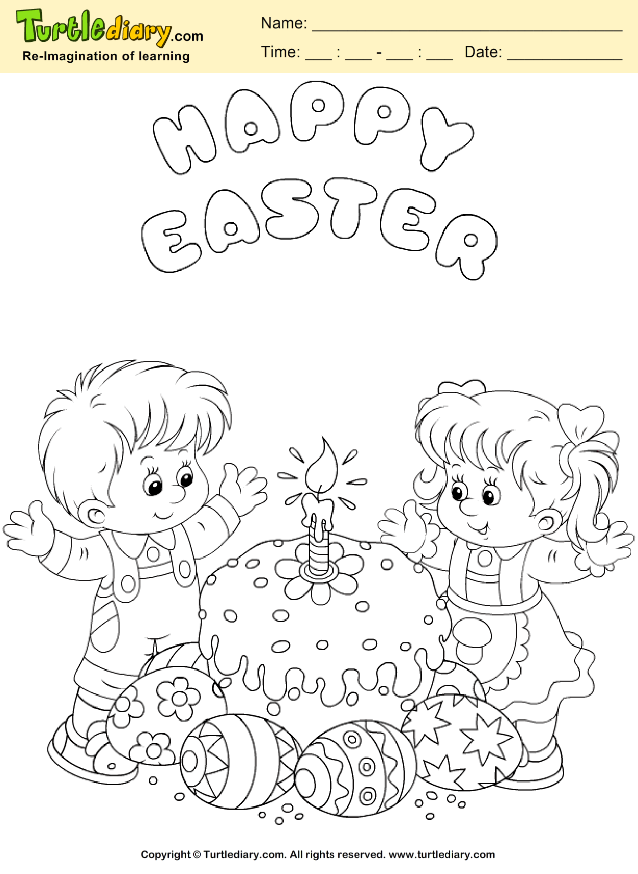 Easter Cake Coloring Page