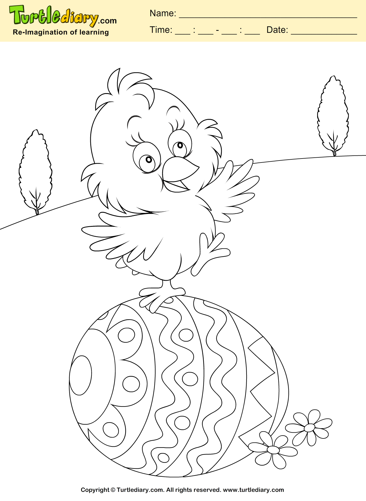 Easter Egg and Chicken Coloring Page