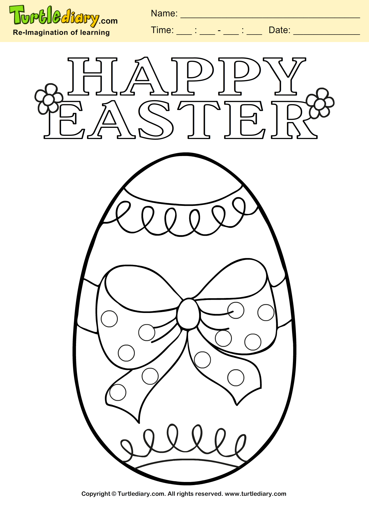 Easter Egg Coloring Sheet | Turtle Diary