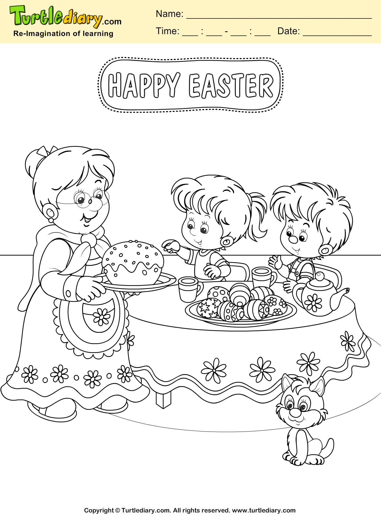 Easter Family Coloring Page