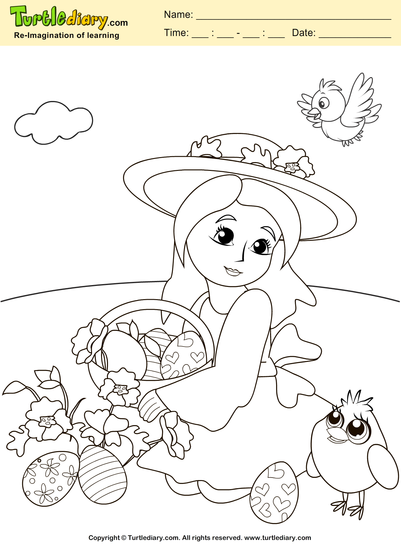 Easter Girl Coloring Page