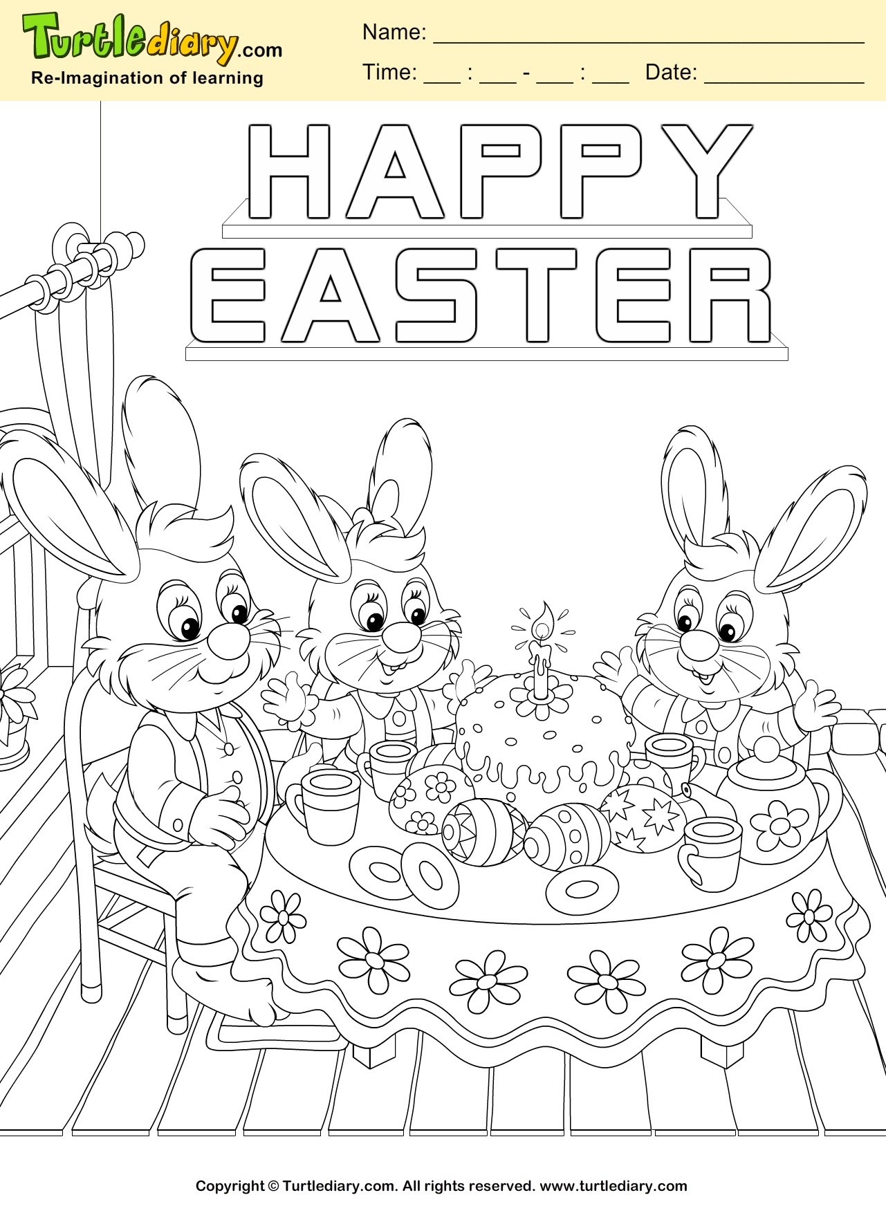 Happy Easter Bunny Coloring Sheet | Turtle Diary