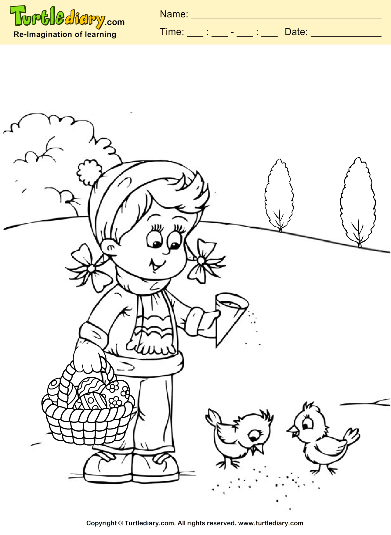 Happy Easter Coloring Page | Turtle Diary