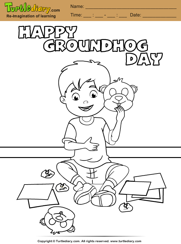 Boy with Groundhog Mask Coloring Page