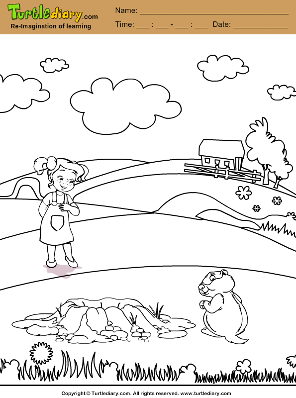 Girl and Groundhog Coloring Page