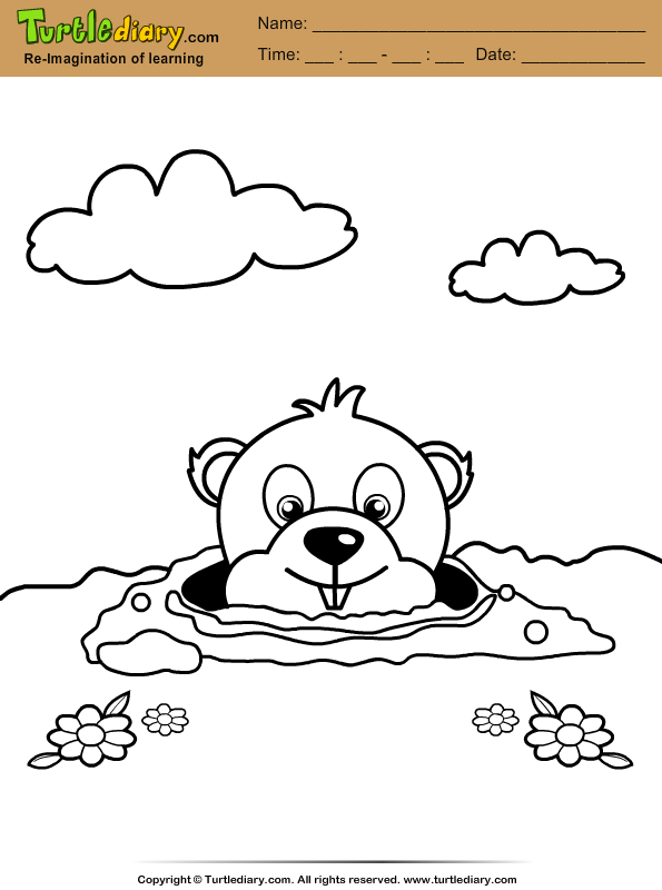 Groundhog Burrow Coloring Page