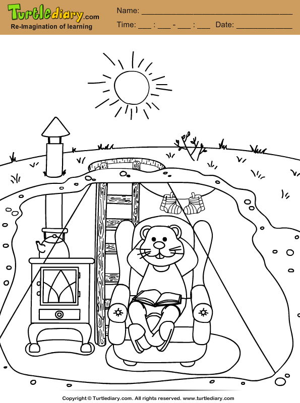 Groundhog House Coloring Page