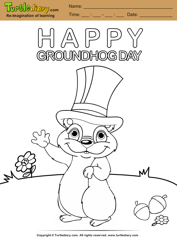 Groundhog with Hat Coloring Page