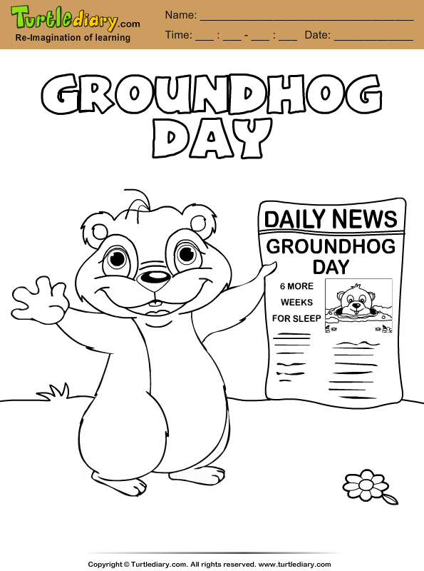 Groundhog with Newspaper Coloring Page
