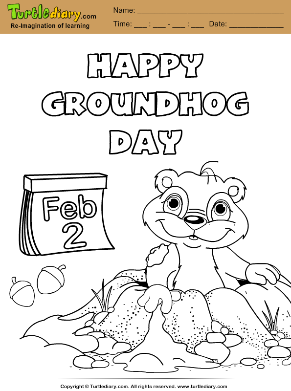 Groundhog with Nuts Coloring Page