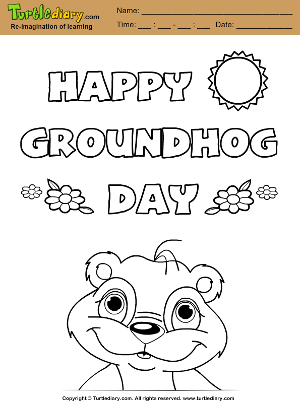 Happy Groundhog Day Coloring Page Pictures to Pin on Pinterest