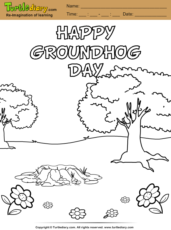 Happy Groundhog Day Coloring Sheet