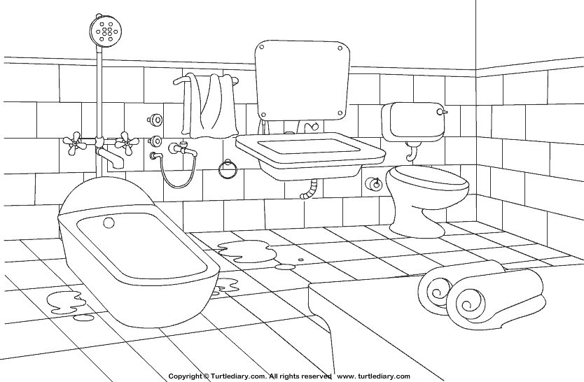 bathroom coloring sheet turtle diary