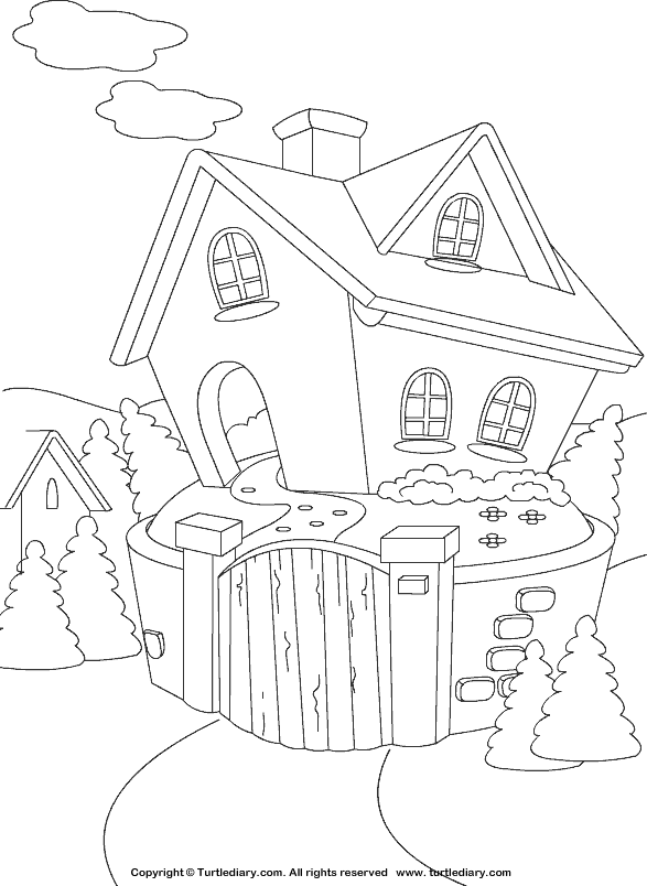 cottage coloring sheet
