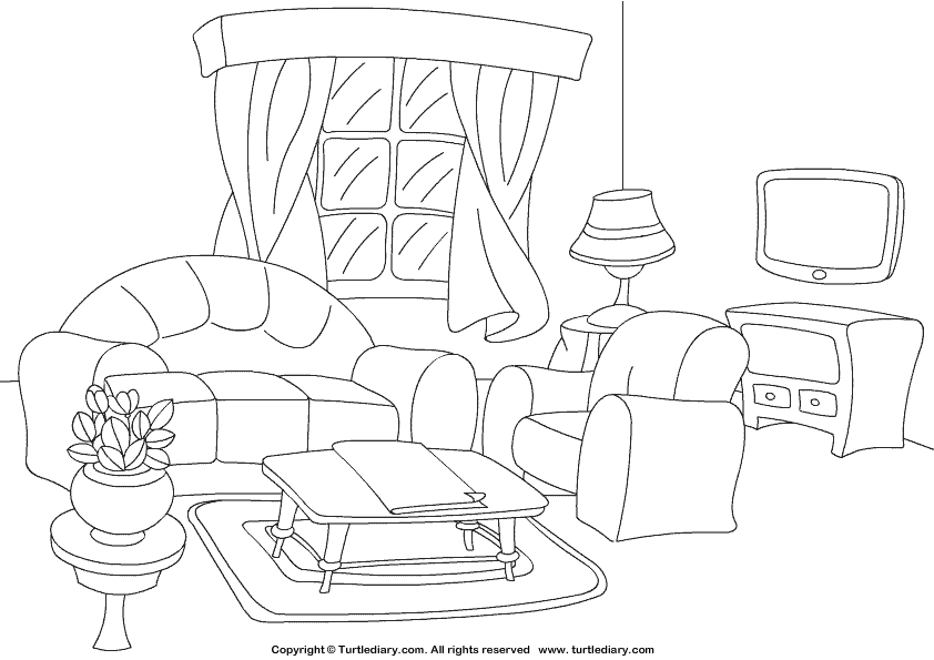 Living Room Coloring Sheet  Turtle Diary