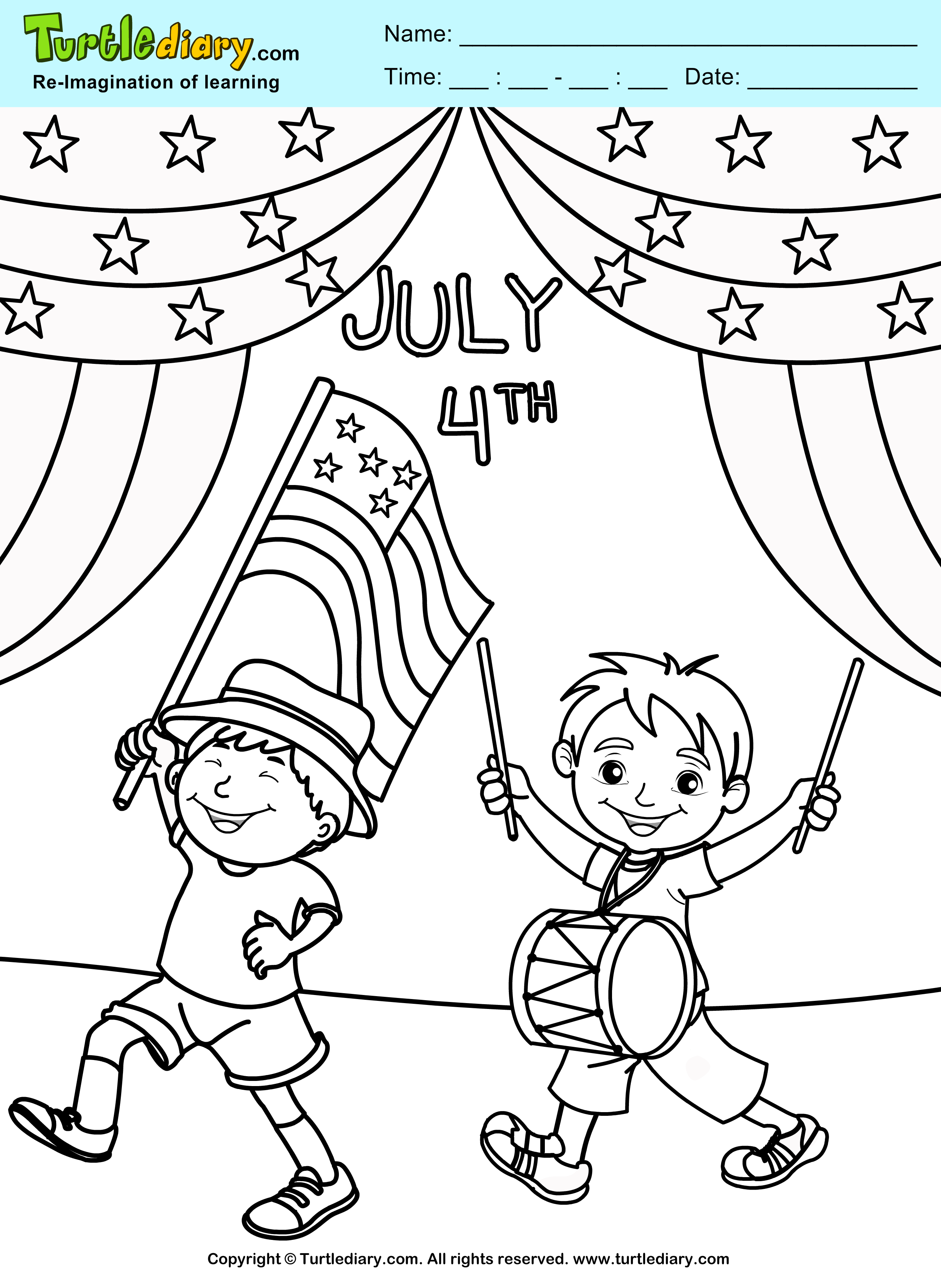 4th of July Parade Coloring Page