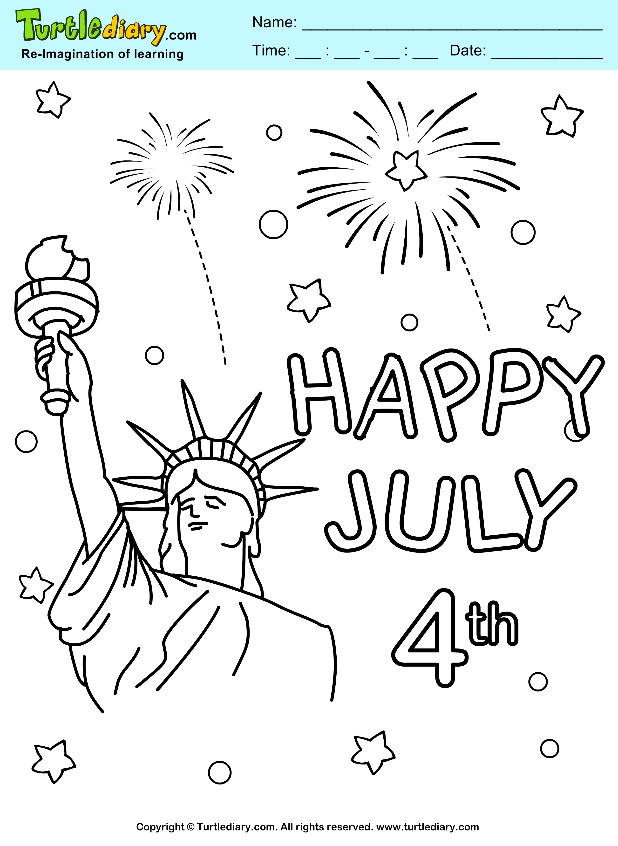Fireworks 4th of july printable coloring sheet turtle diary for 4th of july fireworks coloring pages