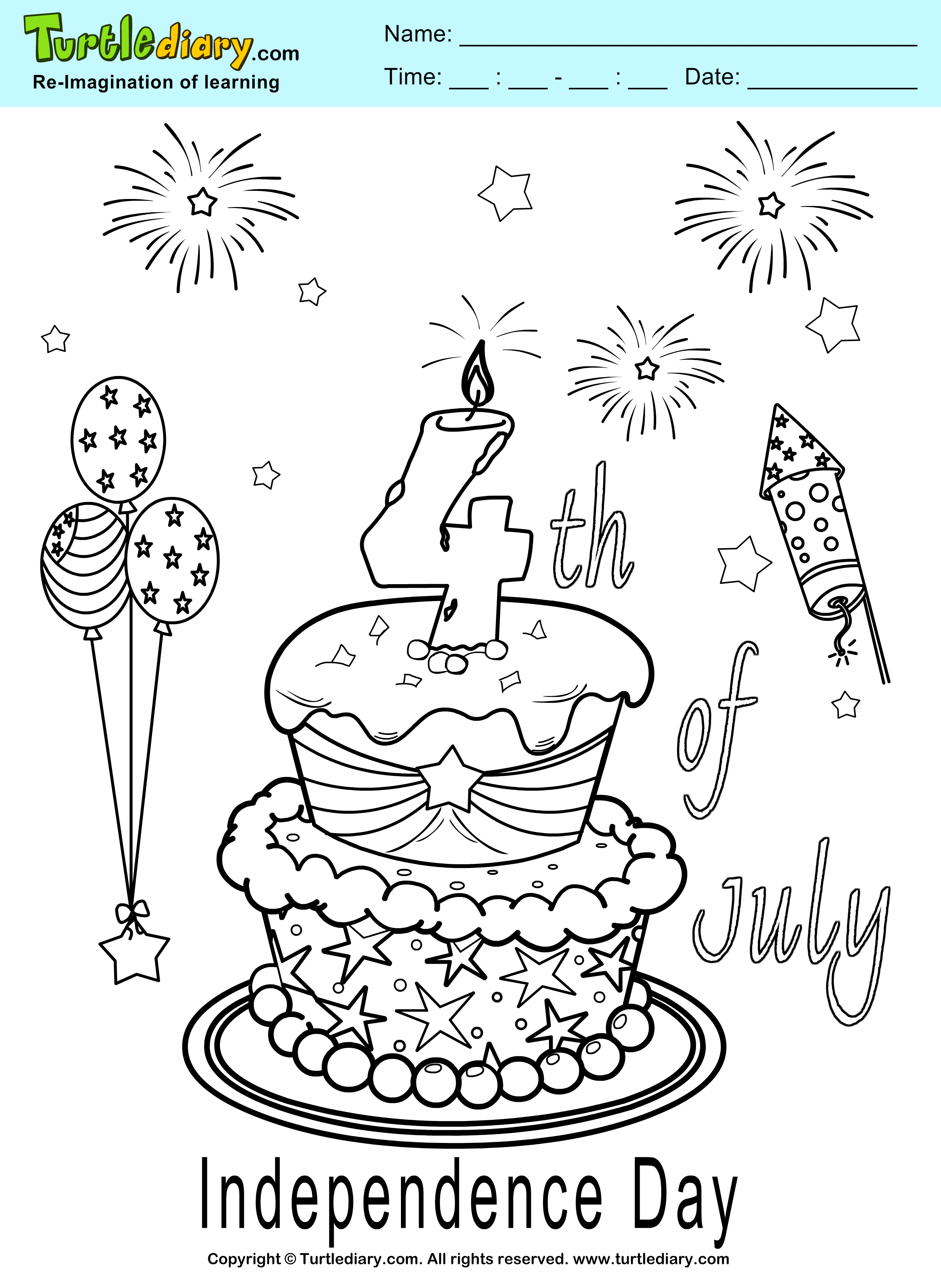 Independence Day Cake Coloring Page