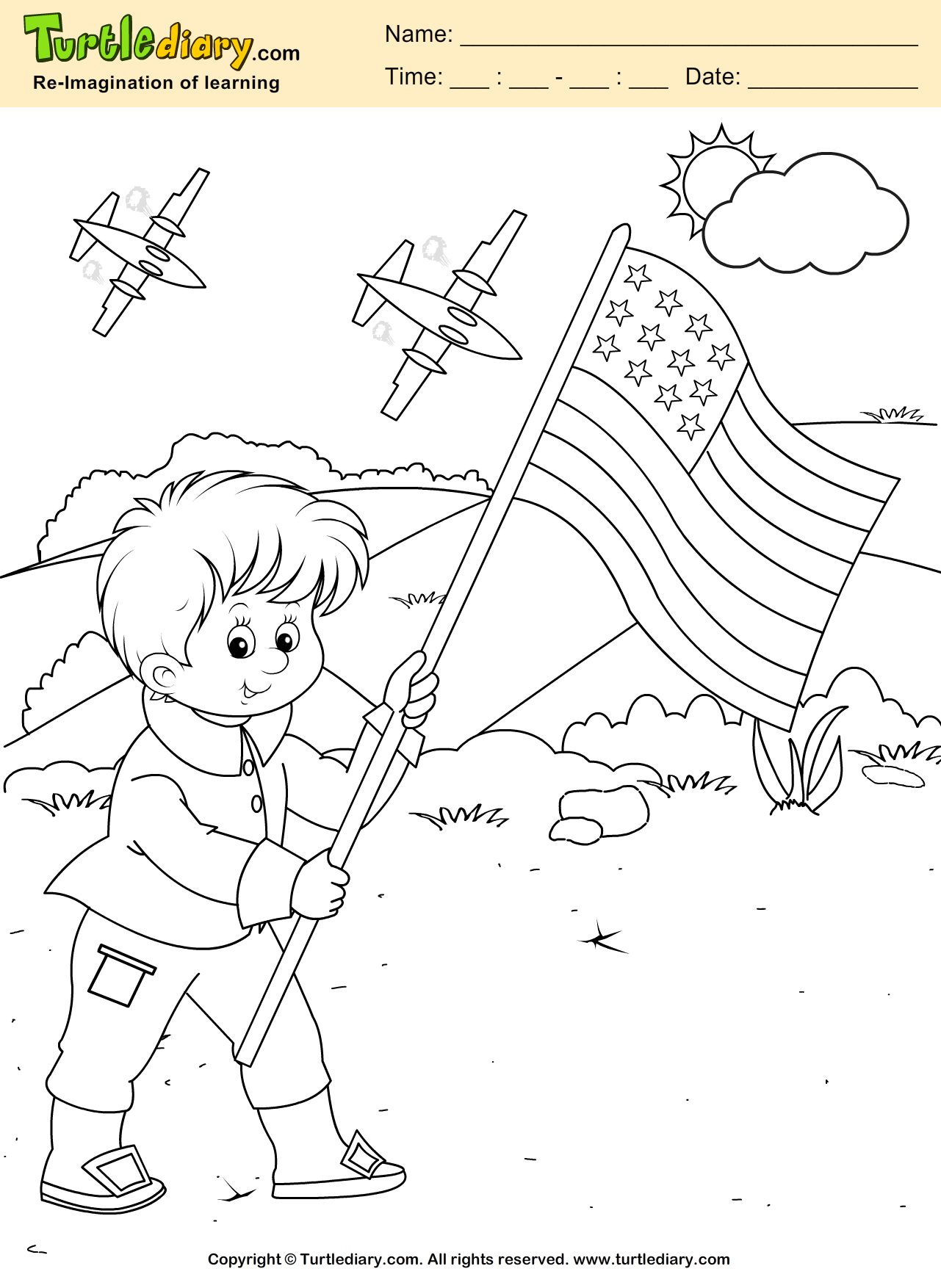Kid With Flag Coloring Page
