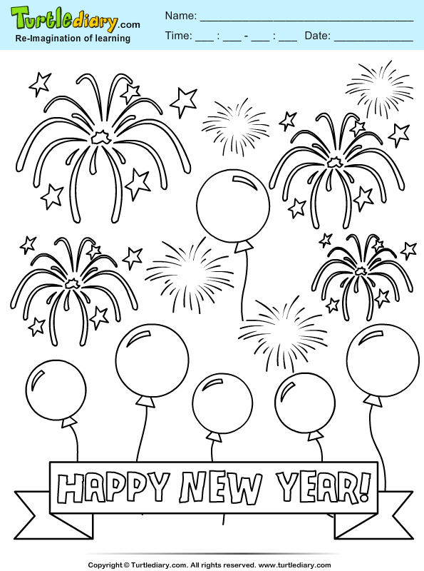 Balloon and Firework Coloring Page