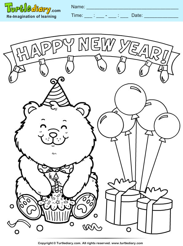 Bear with Cake Coloring Page