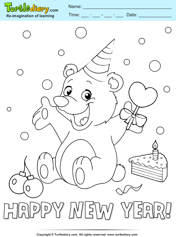 Bear with Party Hat Coloring Page