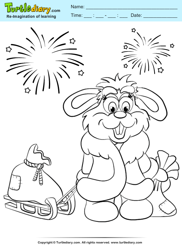 Bunny Firework Coloring Page