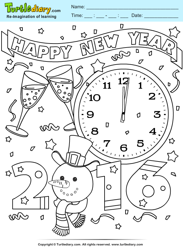 New Year 2016 Coloring Page