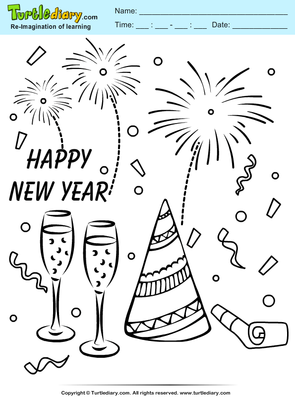 New Year Celebration Coloring Page Turtle Diary Celebration Coloring Pages
