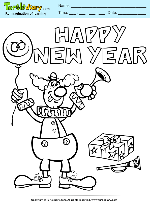 New Year Clown Coloring Page